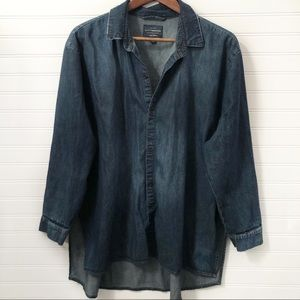 Lucky Brand Denim Button Down Top Large